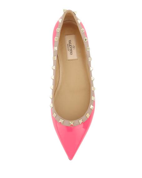 Rockstud Patent Ballerina Flat, Pink