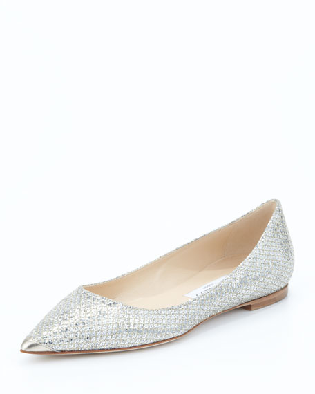 Alina Point-Toe Glitter Flat, Champagne