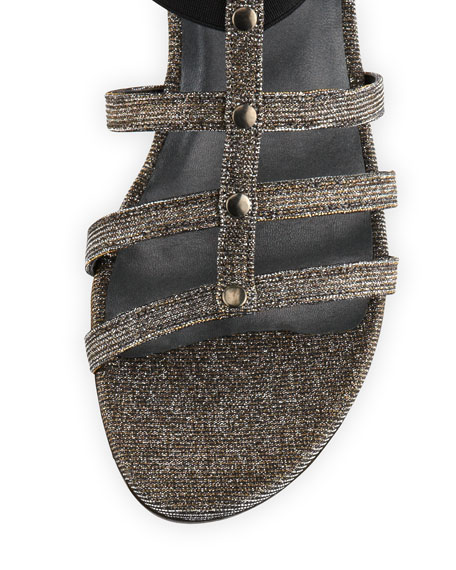 Glitter Knee-High Gladiator Sandal, Pyrite