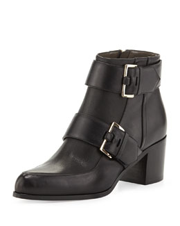 Jason Wu Double-Buckle Leather Ankle Boot, Black