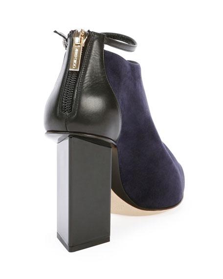 Vaunt Suede Ankle-Strap Bootie, Ink/Black