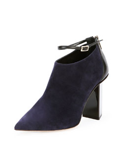 Jimmy Choo Vaunt Suede Ankle-Strap Bootie, Ink/Black