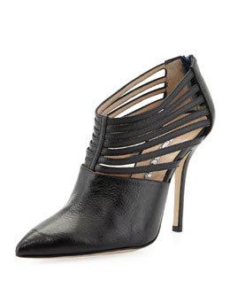 Oscar de la Renta Elisabeth Strappy Leather Bootie, Black