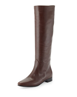Prada Flat Almond-Toe Knee Boot, Grafite