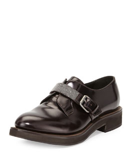 Brunello Cucinelli Monili Bead-Strap Calfskin Loafer, Burgundy