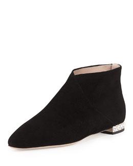 Miu Miu Crystal-Heel Flat Ankle Boot