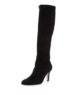 Manolo Blahnik Pascaputre Suede Knee-High Boot, Black