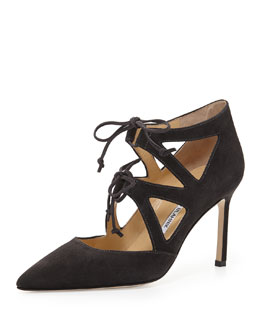 Manolo Blahnik Asaki Double-Tie Point-Toe Suede Pump, Gray