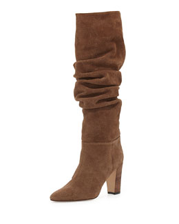 Manolo Blahnik Brunchilee Suede Scrunched Knee Boot, Bisone