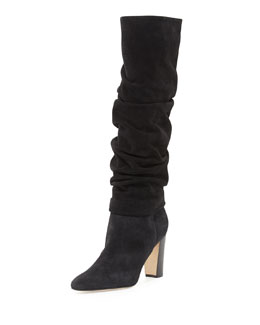 Manolo Blahnik Brunchilee Scrunched Suede Knee Boot, Black