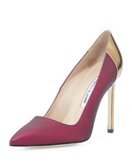 Manolo Blahnik BB Coated Satin Combo Pump, Wine/Gold