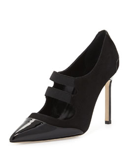 Manolo Blahnik Prodita Mary Jane Cap-Toe Suede Pump, Black
