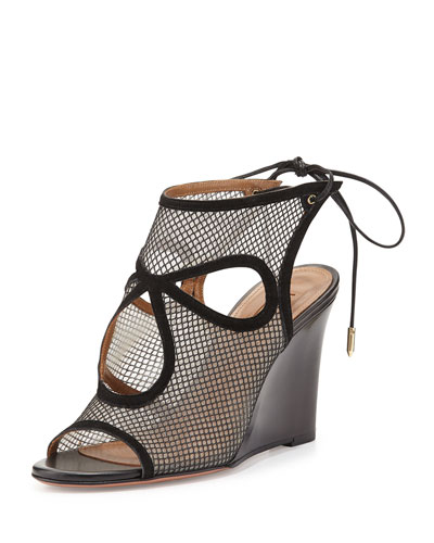 Sexy Thing Cutout Wedge Sandal, Black