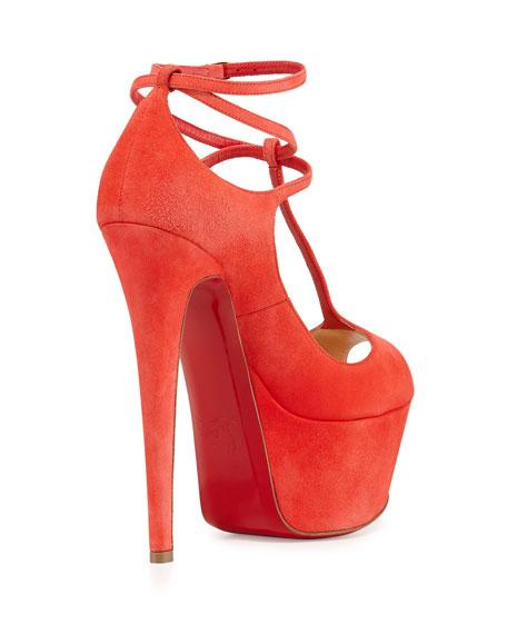 Talitha Suede Red Sole Platform Pump, Poppy