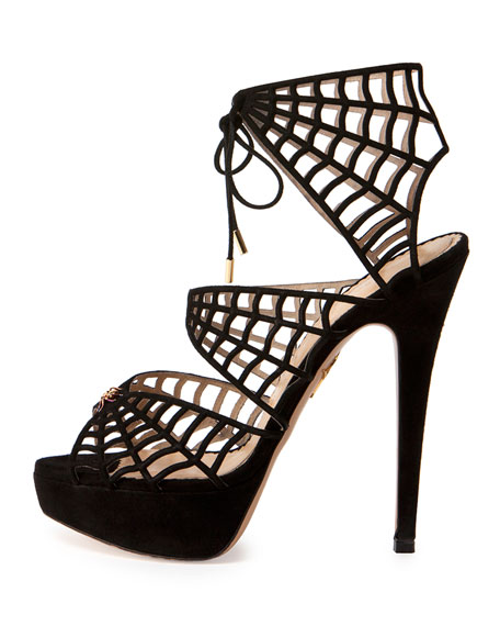 Suede Caught in Charlotte's Web Platform Sandal, Black