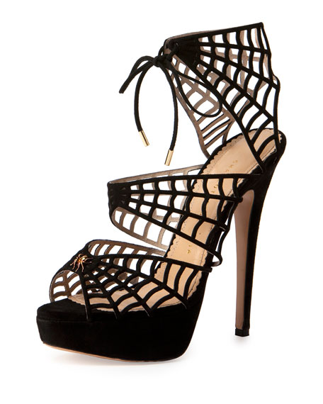 f48488c6ed793 Charlotte Olympia Suede Caught in Charlotte s Web Platform Sandal