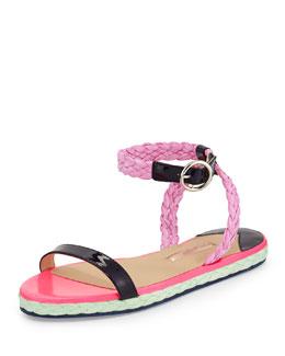 Braided Flat Espadrille Sandal, Ultramarine