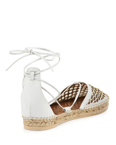Blondie Studded Lattice Espadrille Sandal, White