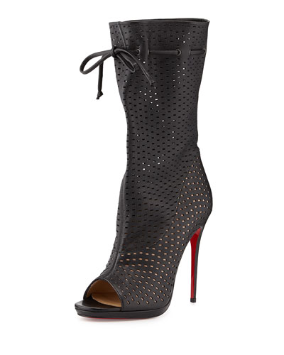 Jennifer Perforated Red Sole Boot, Black