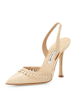 Nave Woven Patent Leather Pump, Bone