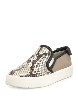 Bram Python-Print Slip-On Sneaker, Black/White