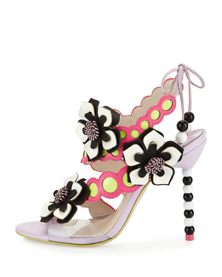 Amazona Leather Flower Sandal, Orchid/Magenta