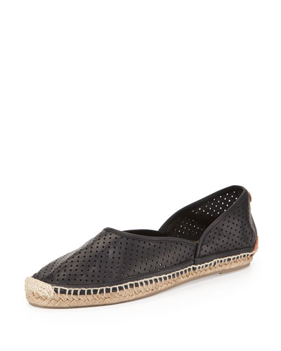 Georgie Perforated Leather Espadrille, Black