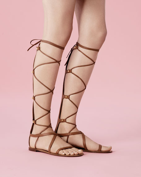 ff683c50864c Valentino Knee-High Flat Gladiator Sandal