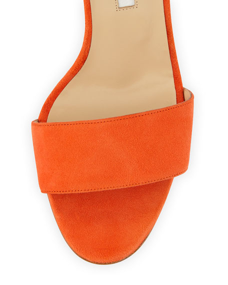 Tondala Suede Ankle-Wrap Sandal, Orange