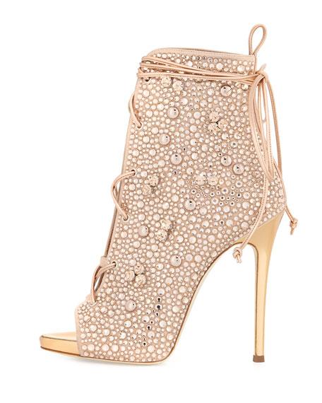 92622d4874709 Giuseppe Zanotti for Jennifer Lopez Lynda Crystal Open-Toe 120mm Bootie