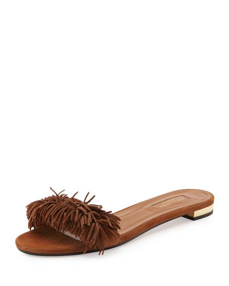 Aquazzura Wild Thing Suede Flat Slide Sandals, Brown