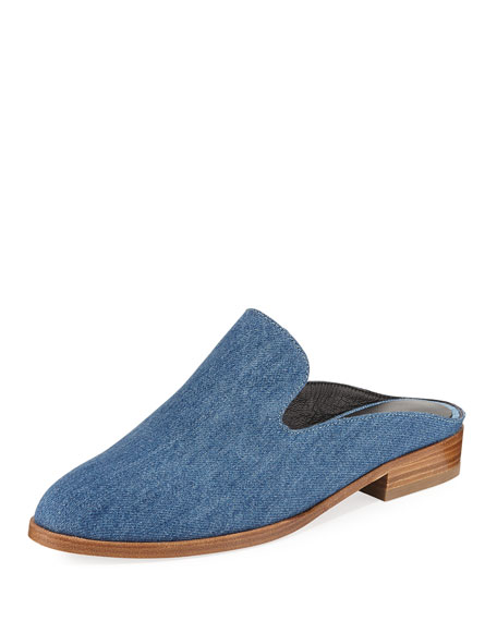 Alice Denim Loafer Mule, Blue