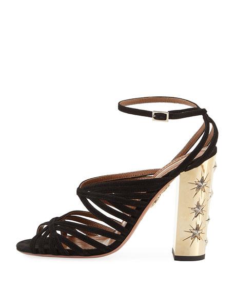 Trinity Strappy Suede Stud-Heel Sandals, Black
