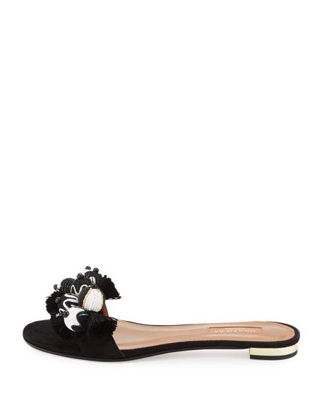Tropicana Beaded Suede Slide Sandal, Black