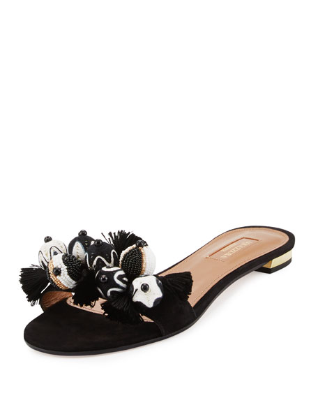 Aquazzura Tropicana Beaded Suede Slide Sandal, Black