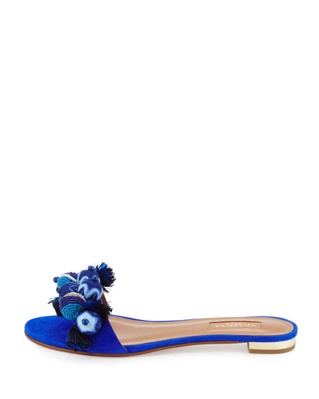 Tropicana Beaded Suede Slide Sandal, Blue