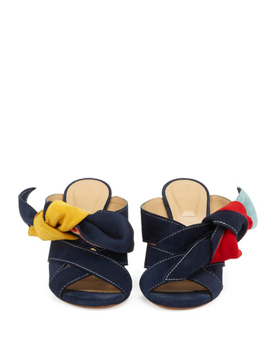 Nellie Knotted Suede Mule Sandal, Multi