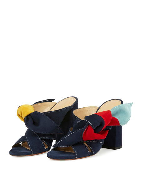 Nellie Knotted Suede Mule Sandals, Multi