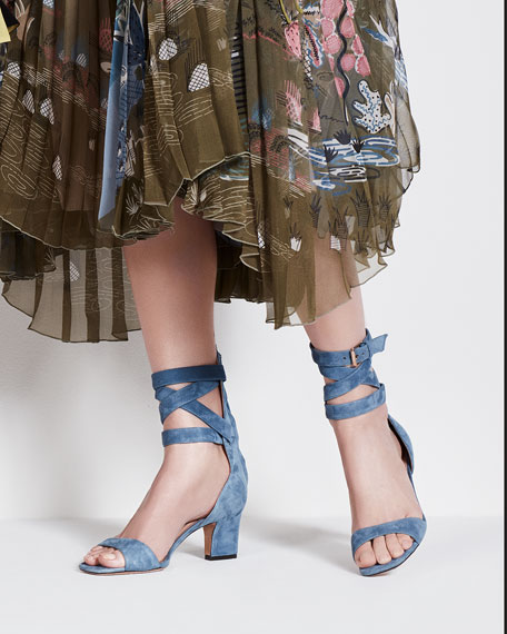 Plum Suede Back-Zip Ankle-Wrap Sandal