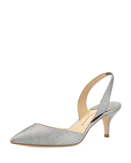 Rhea Satin Slingback Pump, Silver