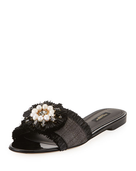 recommend sale online Dolce & Gabbana raffia embellished slides outlet extremely excellent clearance in China latest cheap online X3PwV1n4W7
