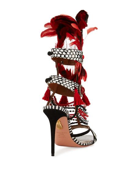 Voodoo Beaded Multi-Strap Sandal, Black/White