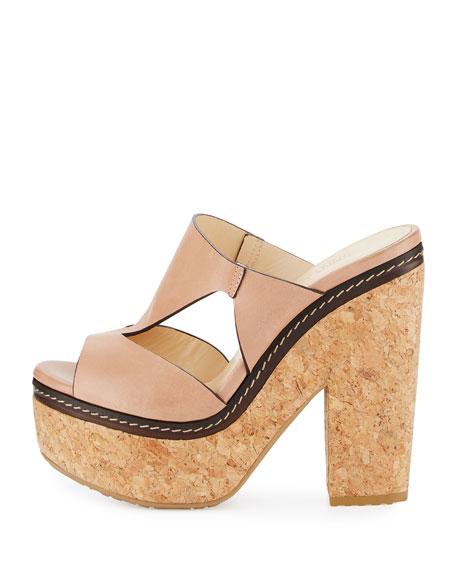 Nixie Leather Cork Platform Sandal