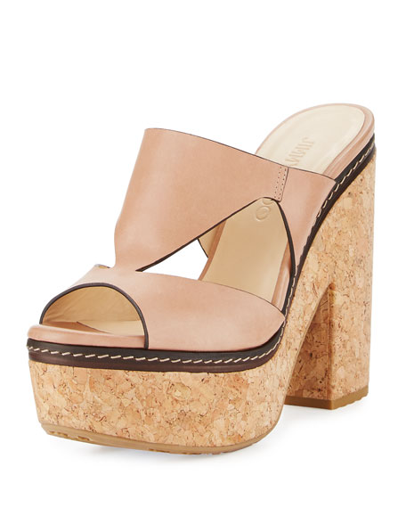 Nixie Leather Cork Platform Sandal