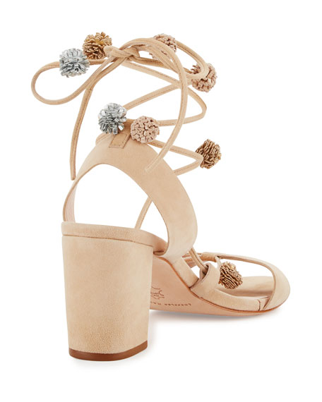 Bea Suede Pompom Ankle-Wrap Sandal