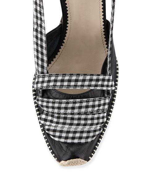 ALTUZARRA Gingham Ankle-Wrap Sandal, Neutral Pattern