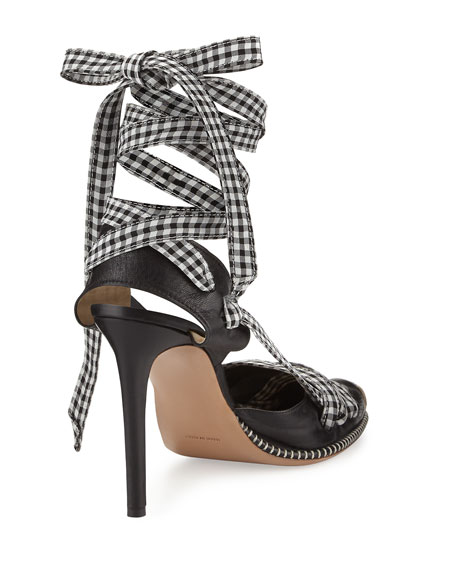 Gingham Ankle-Wrap Sandal