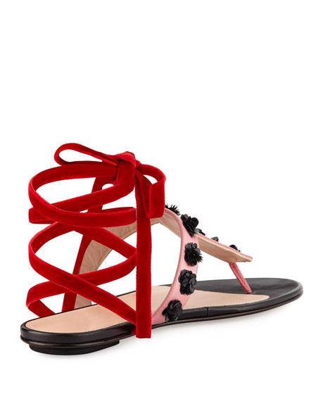 Vanessa Studded Ankle-Wrap Flat Sandal