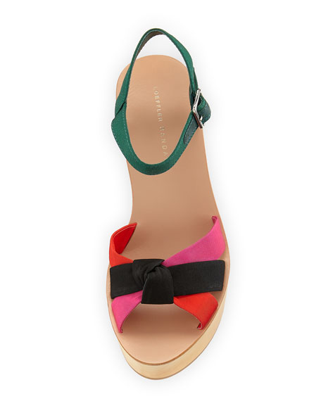 Elsa Wooden Platform Sandal, Multi