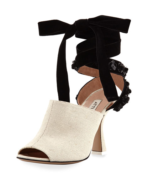 Pamela Canvas & Velvet Ankle-Wrap Sandal, Neutral